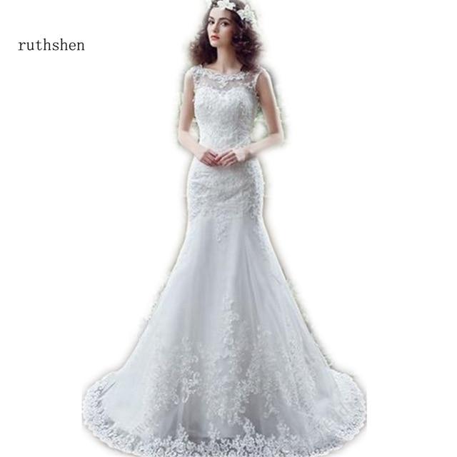 ruthshen Mermaid Lace Backless Wedding Dresses Cheap With Sheer Bateau  Appliques Bohemian Wedding Gown Vestido De Novia 2018 f8f7b5ff7d56