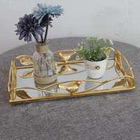 Nordic Gold Square Oval Storage Tray Desktop Unique Glass Jewelry Storage Basket Fruit Tea Tray High Quality Metal Bird Plate