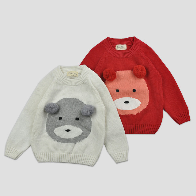 Baby Girls Clothes New 2016 Autumn Winter Baby Boys Girls Sweaters High quality Brown bear Style Baby Kids Sweaters 100% Cotton