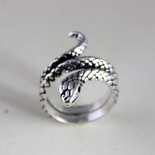 Costume Jewelry Vintage Rings Adjustable Silver Indian Pure-Opening JZ264 Snake Treasure