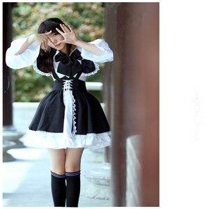 Image 2 - Женское платье с фартуком, черно белое длинное платье в стиле аниме, платья маскарадный костюм Лолиты