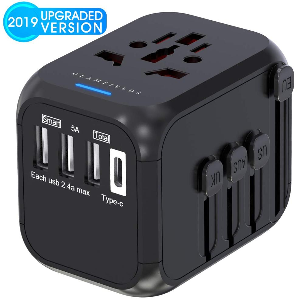 LONGET Universal Travel Adapter Auto Resetting Fuse Baby Safe Design 5A 3 USB + 1typc C Worldwide Wall Charger For UK/EU/AU/Asia