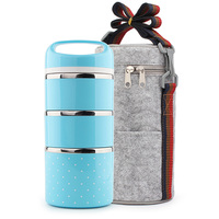 Portable Japanese Stainless Steel Plastic Three Layer Lunch Box Adult Cute Student Everyday Tableware