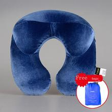 En Forma de U Cuello Almohada de Viaje Inflable Almohada de Viaje de Avión Accesorios Cómodas Almohadas para Dormir Textiles Para El Hogar