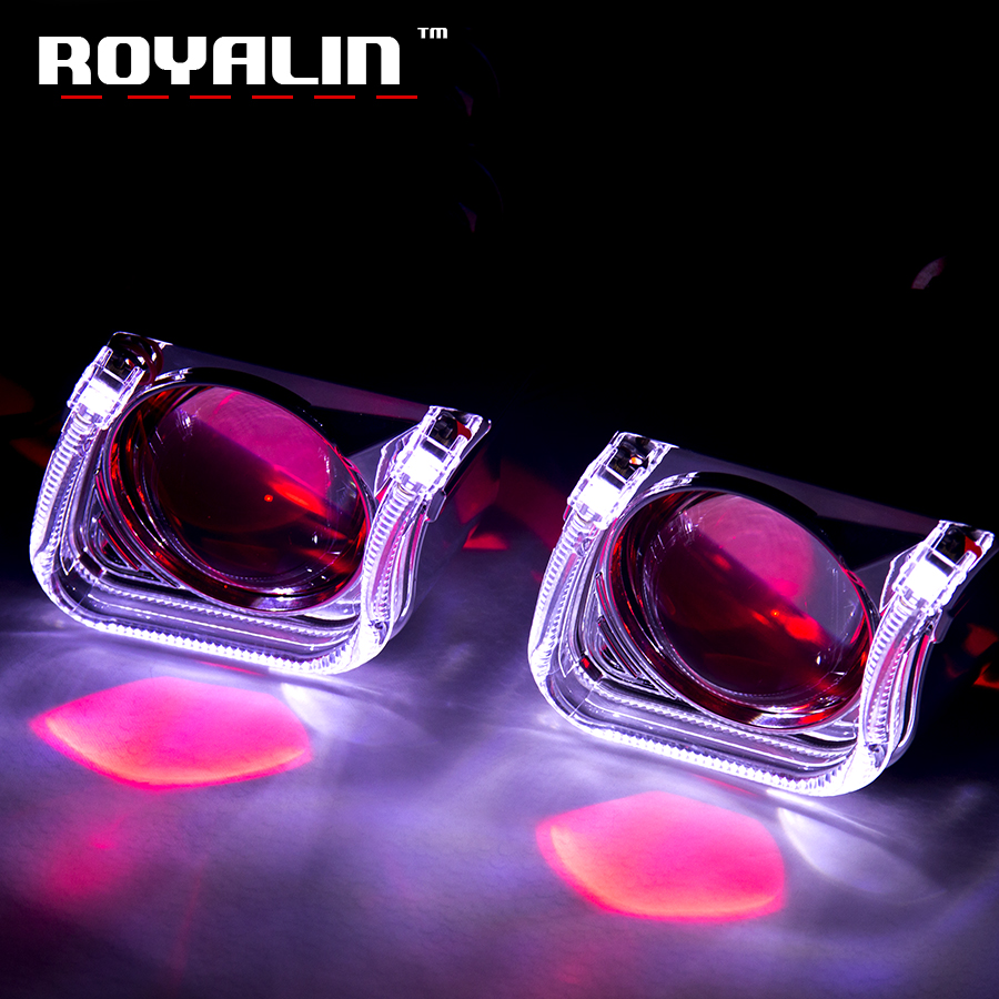 ROYALIN Mini Xenon Lens H1 Projector Headlight 2.5 Metal Lens w/ U Car Styling LED Light Shrouds for H4 H7 Auto Lamp Retrofit auto pro for honda fit headlights 2014 2017 models car styling led car styling xenon lens car light led bar h7 led parking