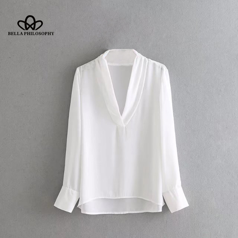 Bella Philosophy 2018 Spring Women Sweet Blouse Long Sleeve Solid V Neck Blouse Fashion Casual Female Blouse Women Tops blouse