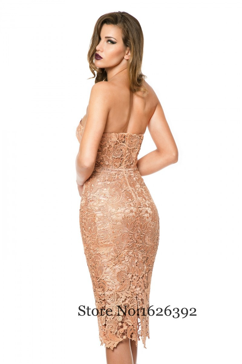 Sexy Women Lace Party Dresses Knee Length Short Cocktail Dress Plus Size  Strapless Special Occasion Dress-in Cocktail Dresses from Weddings   Events  on ... f113a5e58142