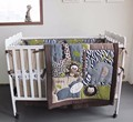 7 pcs crib bedding set 3D stereo embroidery elephant giraffe animal world baby cotton bedding set Quilt Bumper bed skirt Fitted