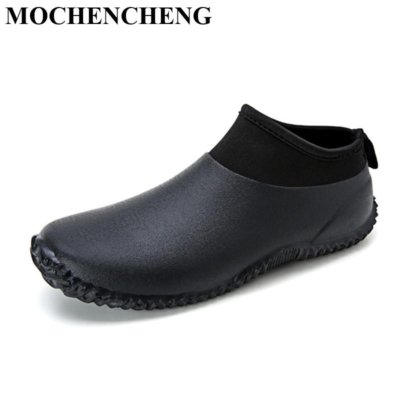 New Men Casual Shoes Waterproof Rain Boots for Spring Summer Outdoor Hard-wearing Anti-skid Solid Black Flat Leisure Shoes