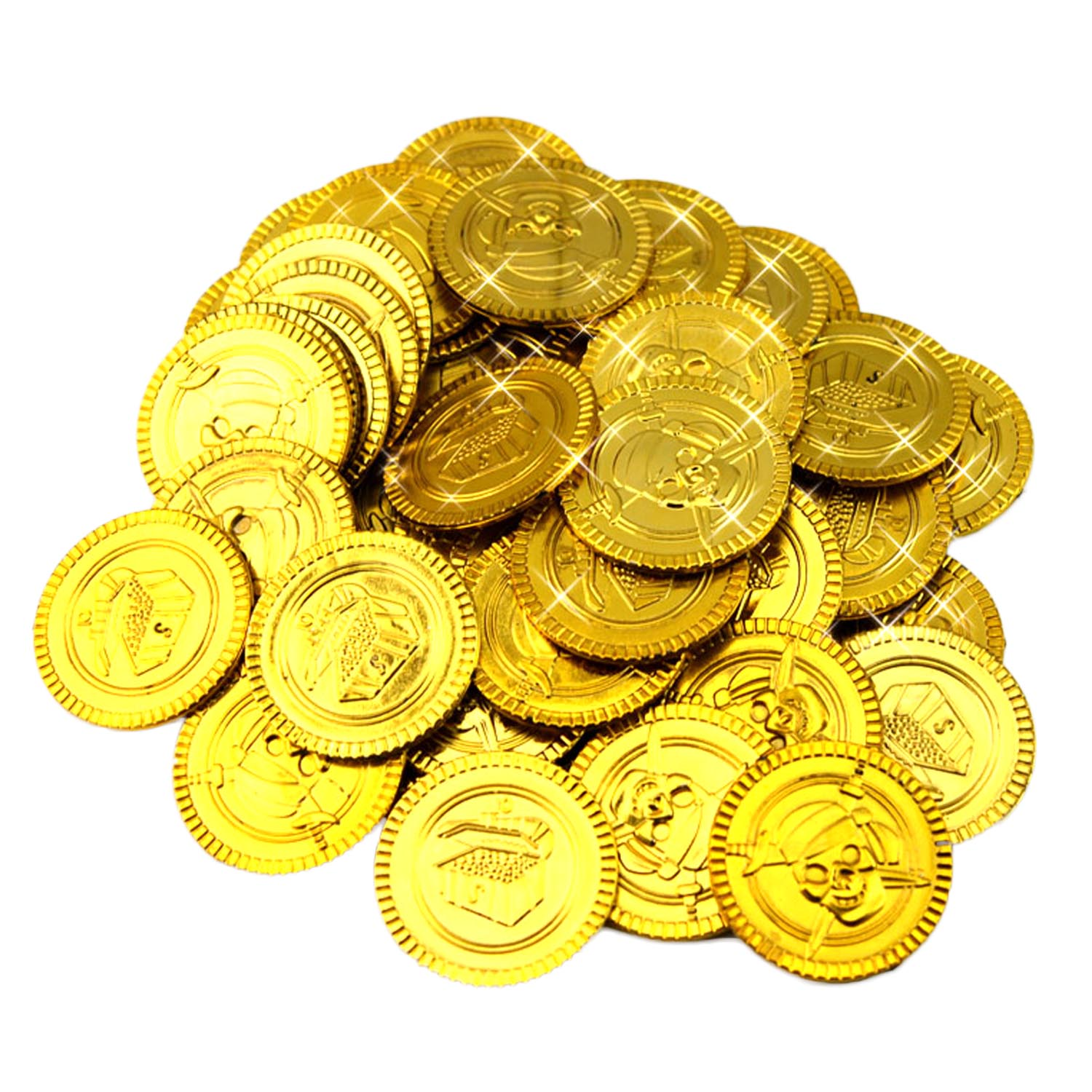 100pcs Plastic Play Gold Coins Toys for Kids Children Game Halloween St Party Supplies