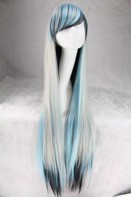 100 Cm Harajuku Anime Cosplay Wig Women Long Straight Heat resistant  Synthetic Hair White Black Blue Ombre Wigs Peruca Perucas 60ec935f90