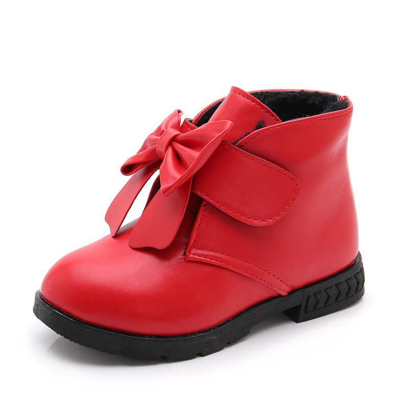 Baby Girls Snow Boots Female Children Winter Boots Outdoor Warm Plush Non Slip Kids Bow knot