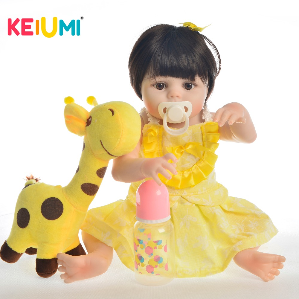 KEIUMI Lifelike 19 Inch Reborn Dolls Whole Silicone Handmade Princess Girl Baby Toy Doll For Kid