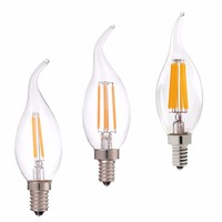 Затемнения, 2 Вт 4 Вт 6 Вт, E12 E14, Ретро LED Лампы Накаливания, C35 Пламя Совет, теплый Белый 2700 К, 110 В 220 В, Люстра, Лампа