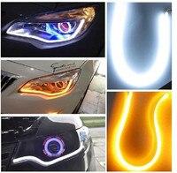 2PCS SET 5W LED 3014SMD Daytime Running Lamp Light Strip Car Truck Driving White Amber DRL