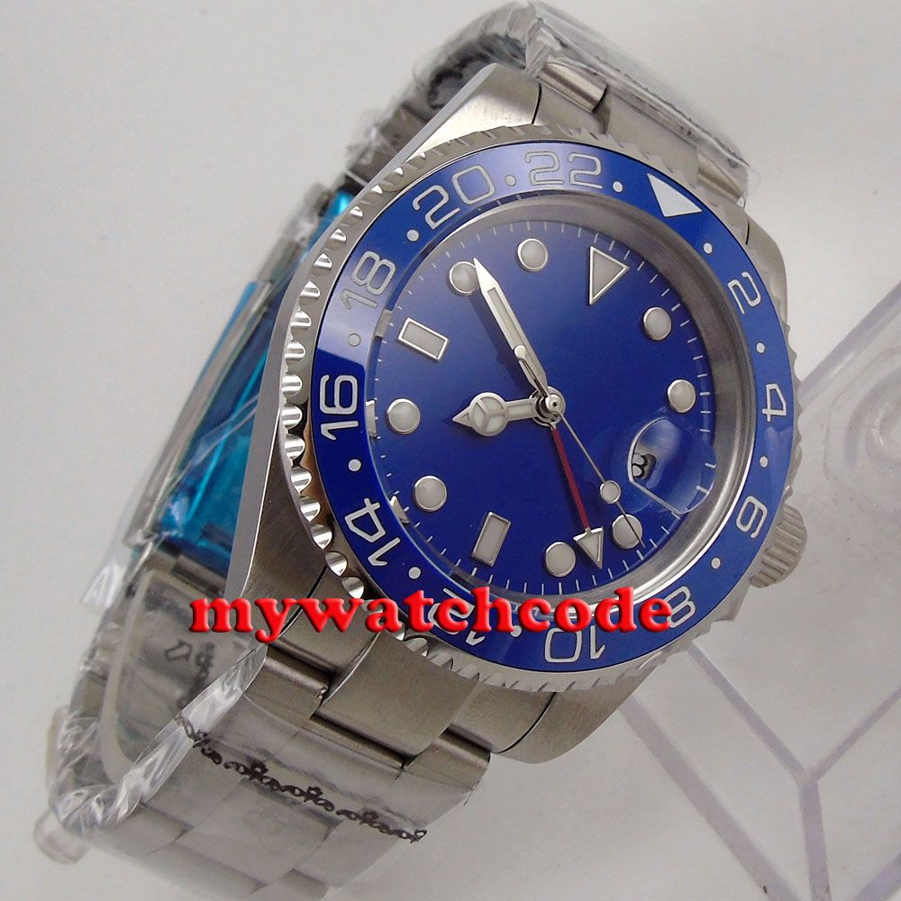 40mm Bliger blue dial luminous GMT date sapphire glass automatic mens watch 181 цена и фото