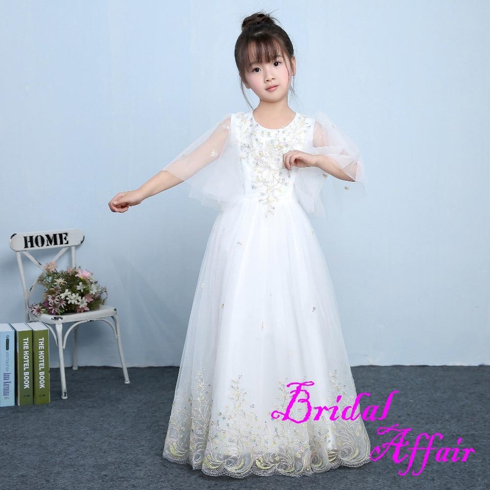 Real Photo Lovely Beads White Bridal   Flower     Girls     Dresses   2017 New Ball Gown Prom Kids   dress   First Communion   Dresses   For   Girls