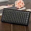 Top grain genuine Italy woven calf leather women long wallet WW008