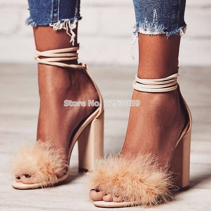 New Design Nude Pink Black Suede Fur Sandals Lace-up Thick High Heels Dress Shoes Strappy Chunky Heel Bridal Shoes Sandals pink lace up design cold shoulder long sleeves hoodie dress