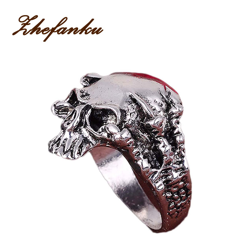 Exaggeration Skull Alloy Ring Punk Men Retro Jewelry New Style Factory Price Skull Ring For Men