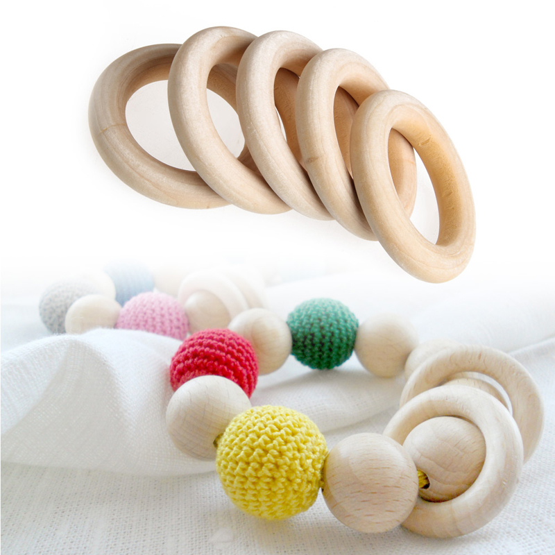 5pcs DIY Baby Teething Rings Natural Wooden Necklace Bracelet Crafts 55mm