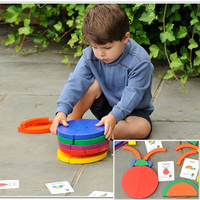 Super big wooden educational toy diy multicolour three dimensional building circle blocks set with pattern cards toys
