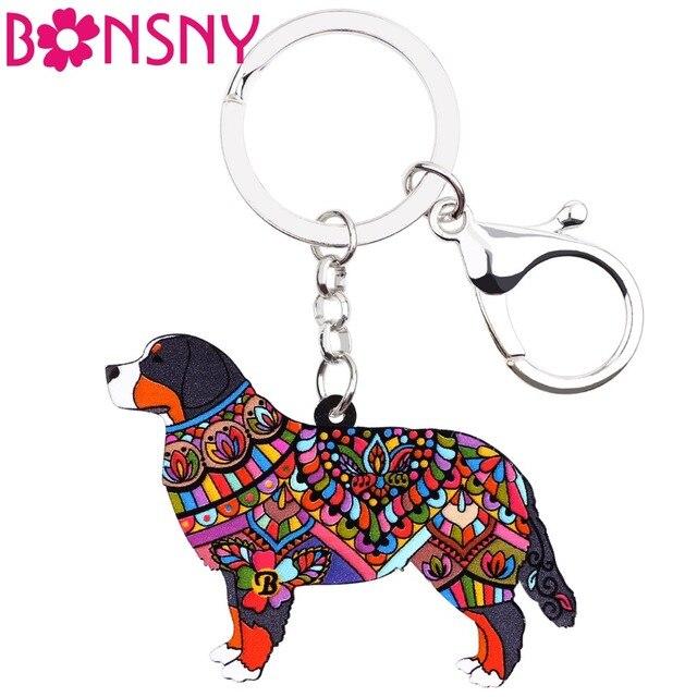 Bonsny Acrílico Jóia Do Cão Bernese Mountain Dog Chave Da Corrente Chave anel de Presente Para As Mulheres Das Senhoras Da Menina Bolsa Pingente Encantos Pom atacado