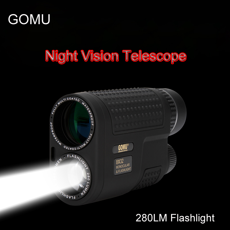 GOMU 8x32 Night Vision Monocular Telescope Multifunctional Compact Pocket-size scope Built-in Rechargeable Flashlight for Hunt compact monocular telescope for outdoor activities