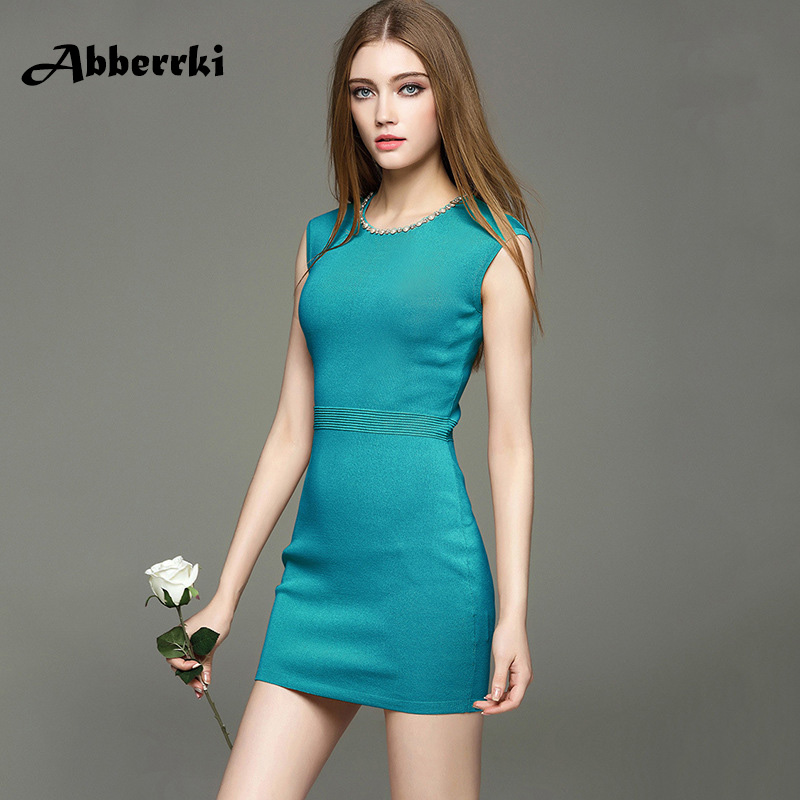 e9291f95ccb4 Spring Summer New Women Sleeveless Bodycon Dress Luxury Bead Inlay Drill  Party Dress Above Knee Sexy Solid Vestidos Clothes