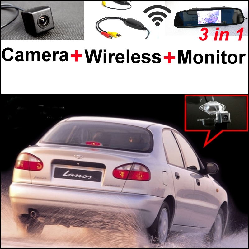 For Daewoo ZAZ Lanos Sens 3 in1 Rear View Special Camera + Wireless Receiver + Mirror Monitor Easy DIY Back Up Parking System july king 18w 6500k 6leds led daytime running lights led fog lamp case for toyota aygo 2005 on over 1260lm pc