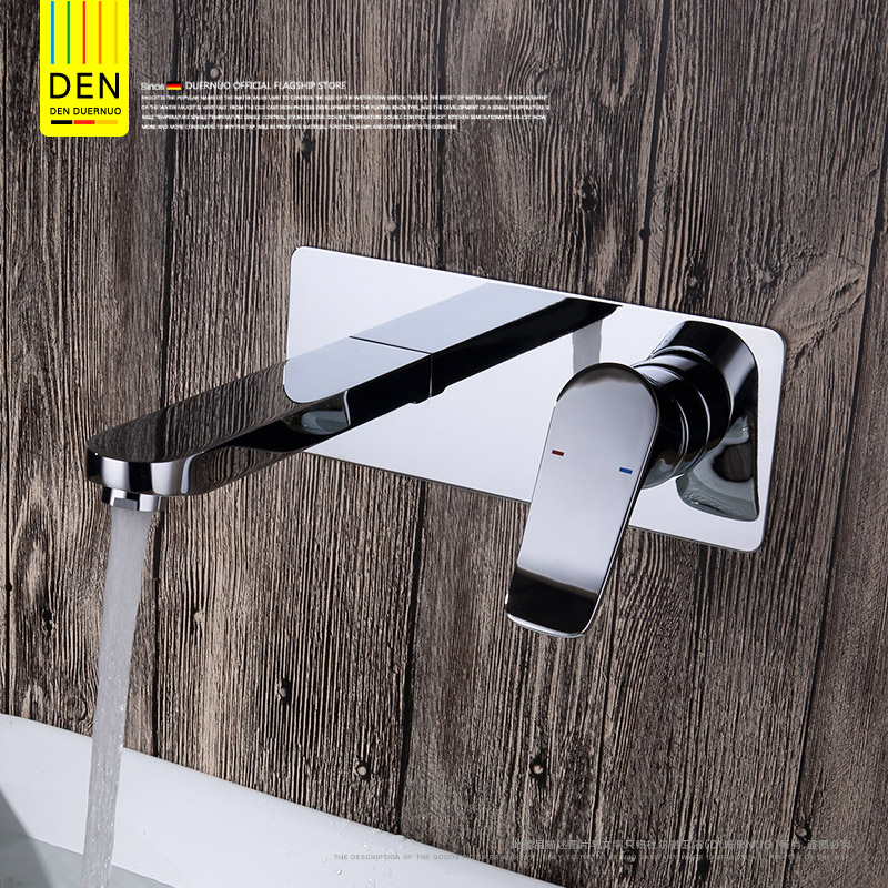 Finish Solid Brass Spout Vanity Sink Mixer Tap, Bathroom Tap Basin Faucet Wall Mount