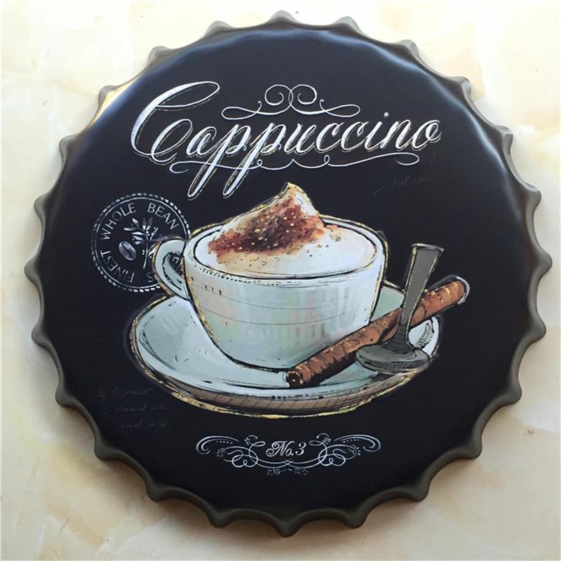 40 Cm Cappuccino Caffè Creativo Birra Cap Sign Vintage Targa In Metallo Wall Art Home Decor Per Bar Caffetteria Casa Profitto Piccolo