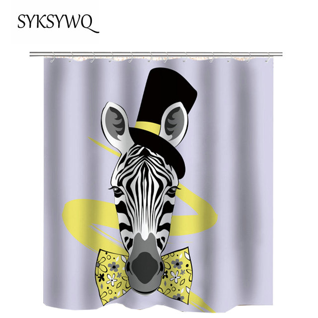 Zebra Bathroom Curtain Black And White Striped Rideau De Douche Tissus Yellow Bow Tie Blak High