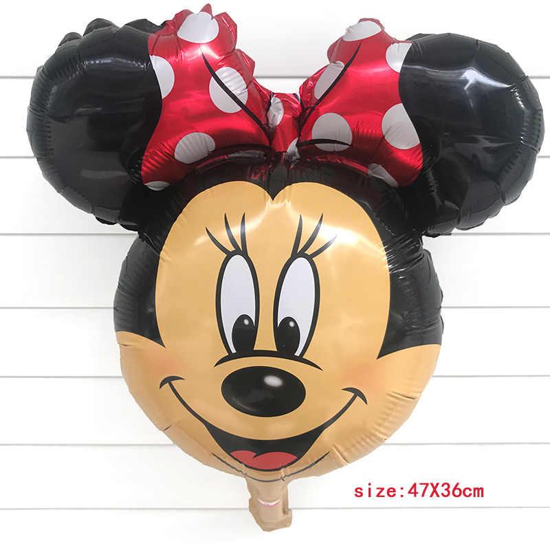 1 pcs Black Rose Red Mickey Mouse Cabeça Mickey Balão Balão Balão de Feliz Aniversário Balão de Festa Decoração Globos Crianças Brinquedo