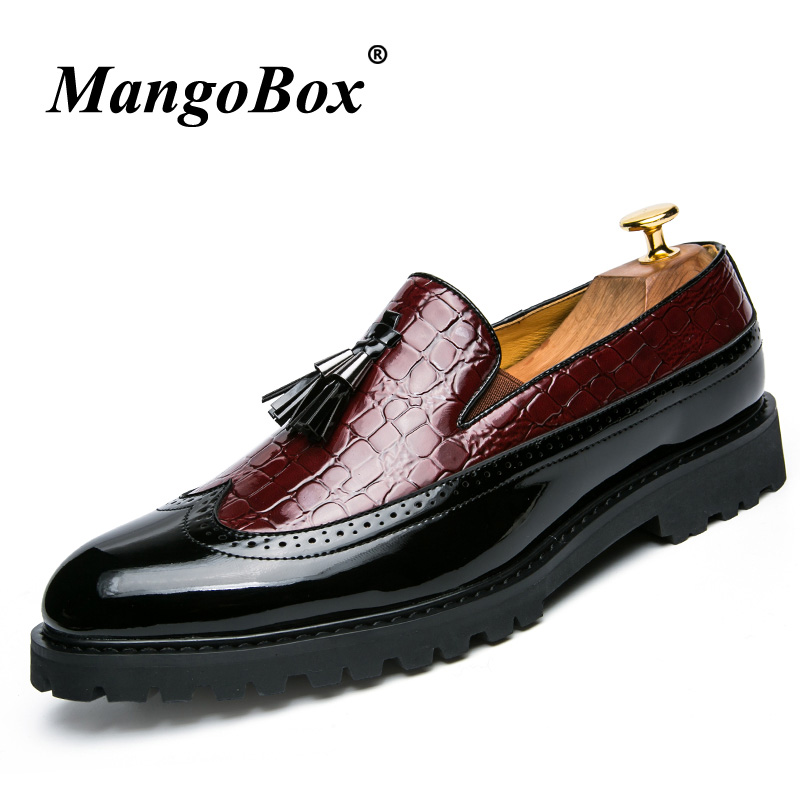 Brogue Casual Tassel Shoes Slip-on Casual Business Men Patent Leather Shoes Men Fashion Brogue Office Business Man Suit Footwear high quality men fashion business office formal dress breathable cow leather brogue shoes gentleman tassel slip on shoe loafers