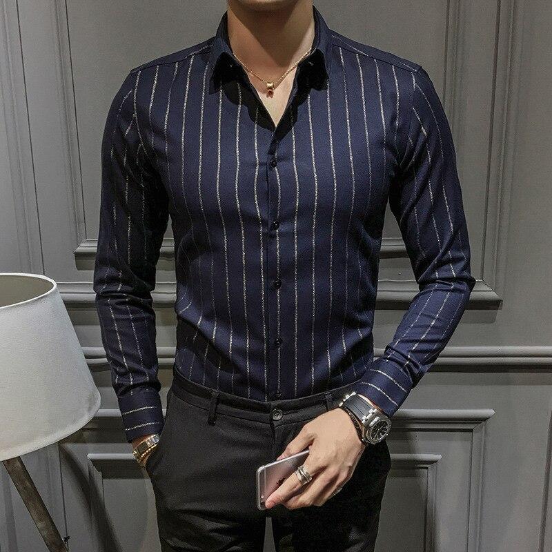 2017 High-end Fashion Stripes Slim Long-sleeved Shirt Men's Elegant Striped Shirt