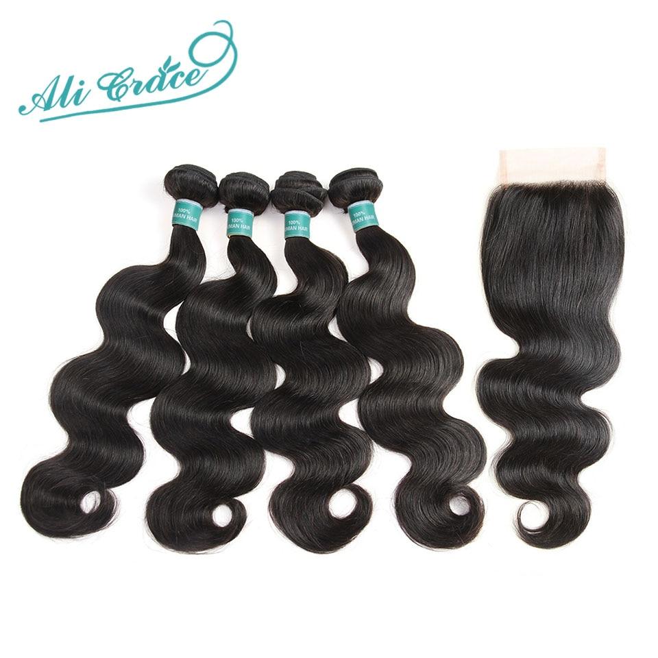 Hair Closure Human-Hair-Extensions Ali-Grace Brazilian-Hair 4-Bundles Body-Wave
