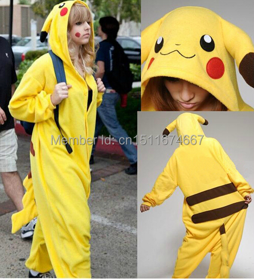 Қалың жұмсақ фланельді Onesie Pajama костюмі - Pokemon Pikachu Halloween Рождество карнавалы партия киімі
