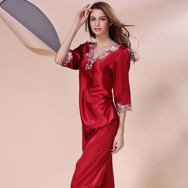 7fb5038d2274a New Style Women Silk Pajamas Sets 2018 Spring Summer Design Elegant Lace  Embroidered Female Satin Pajamas