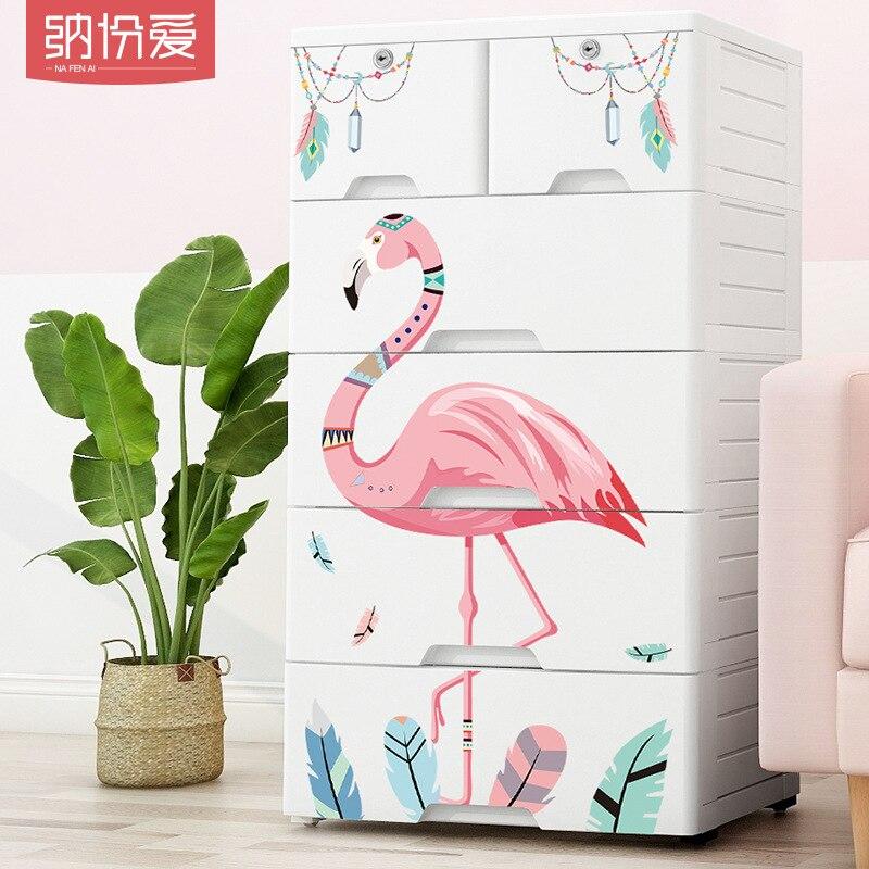 Organisateur de rangement multifonction haute capacité PP tiroir type boîte de rangement Flamingo jouets organisateur boîte en plastique stockage armoire