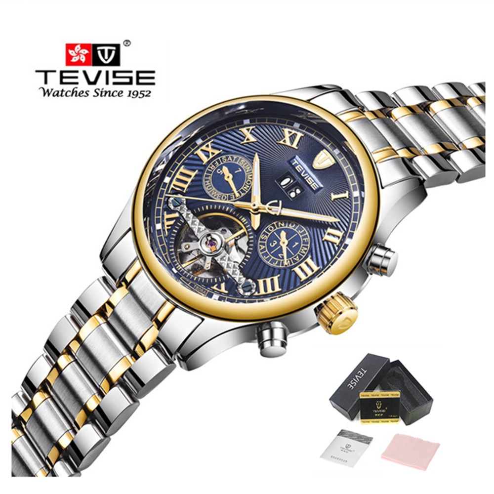 TEVISE Automatic Mechanical Tourbillon Watch Men Luxury Auto Date Day Month Stainless Steel Mens Wristwatch horloges mannen tevise men automatic self wind gola stainless steel watches luxury 12 symbolic animals dial mechanical date wristwatches9055g