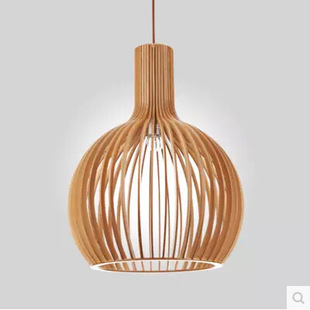 Bird Cage Lamp Modern Wooden Birdcage Pendant Light Dining Room Bar Lamps
