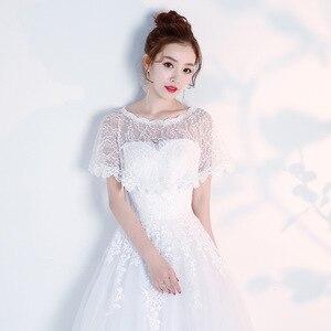 Image 4 - JaneVini Elegante Preto do Verão Do Laço Nupcial de Casamento Bolero Wraps Mulheres Baratos Curto Cape Xailes Roubou Outwear Acessórios Do Casamento