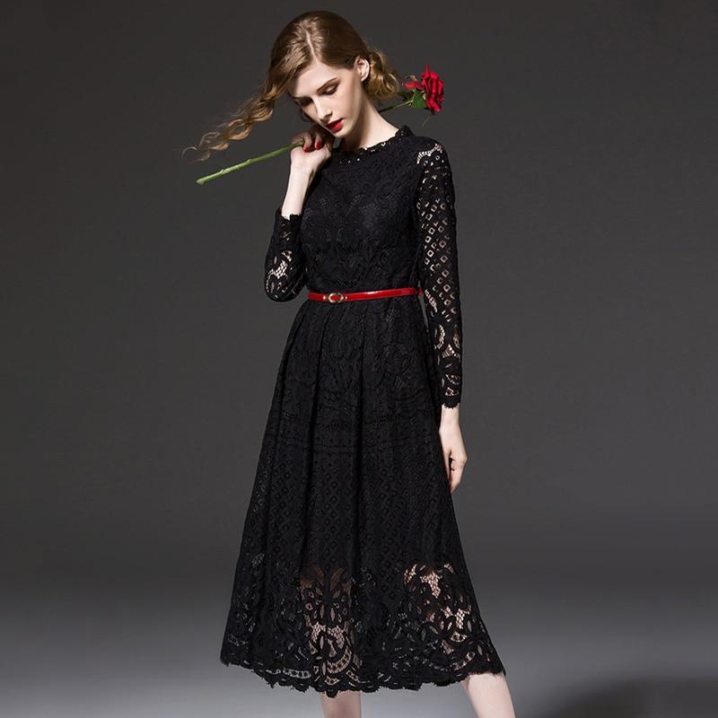 2017 Fashion Black Hollow Out Floral Lace Plus Size Summer Dress Women Ever Pretty Long Sleeves Party Dresses vestido de festa
