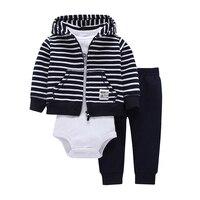 Newborn New Sets Hooded Zipper Coat Pants Romper Fashion Bebes Cotton 2017 Baby Boy Girl Clothes