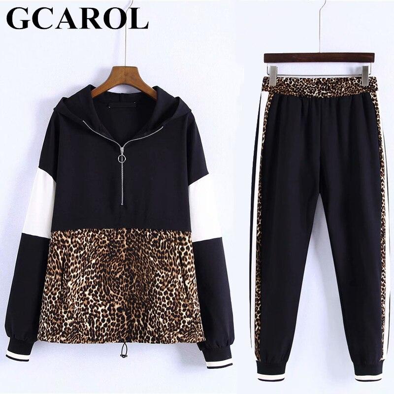 GCAROL Ny ankomst efterår til kvinder 2 pc'er. Leopard Skin Care Kit Spliced Sweatshirt Ankel Støvler Harm Længde Pige Bukser