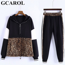 GCAROL New Arrival Fall Women 2 Pieces Sets Leopard Spliced Sweatshirt Ankle Length Harm Pants Women Tracksuits Hoodies Outfiits(China)