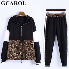8992f423813 GCAROL New Arrival Fall Women 2 Pieces Sets Leopard Spliced Sweatshirt  Ankle Length Harm Pants Women Tracksuits Hoodies Outfiits
