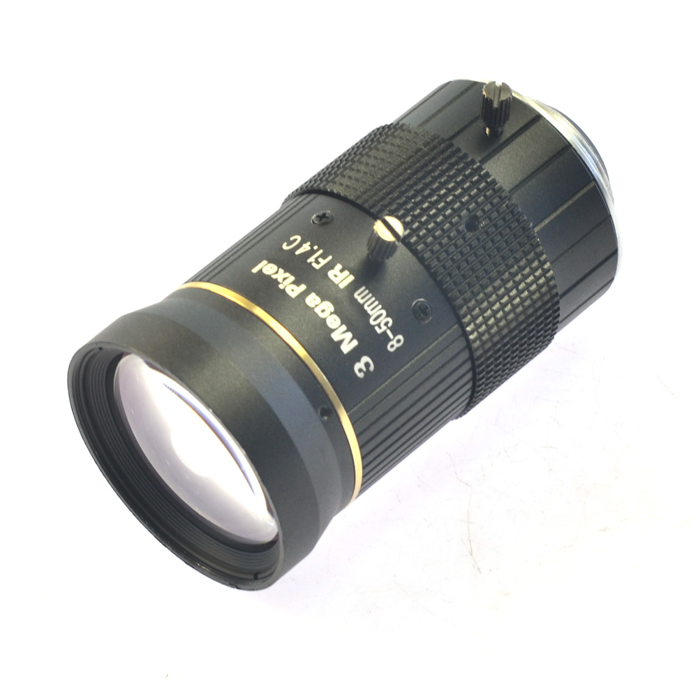 ФОТО No Distortion Industrial Microscope Lens Big Visual Field 3.0MP Manual IRIS Zoom Focus Lens 8-50mm CS C Mount Lens