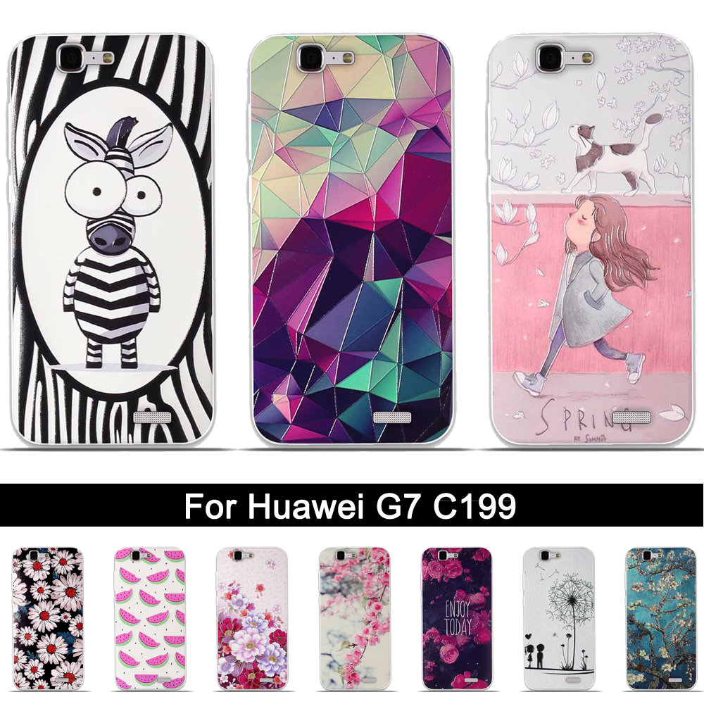 Soft TPU Back Cover Case For Huawei G7 Relief 3D Printing Silicone ...